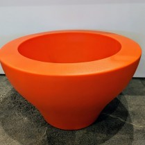 """**ITEM NOW SOLD** Serralunga lg. low Ming pot, available in orange or green. Never used. 31""""d. x 18.25""""h Orig. List: $395. each Modele's Price: 175. each"""