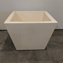 "**ITEM NOW SOLD** Serralunga large square pot in white. Only one available, never used. 22.5"" sq. x 18""h. 175.-"