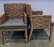 "Set/6 Wicker Works 'Hopkins' rope dining chairs (all with arms). Purchased in March 2016, used for only two weeks, then stored. Customized chocolate finish on rope. Kerry Joyce fabric on seats. 23.5""w 22""d x 34.75""h. Orig. List: $11,875. set. Modele's Price: 5500.- set"