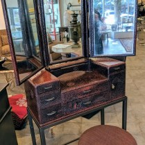 """**ITEM NOW SOLD** Vintage Japanese-deco dressing table. Lacquered finish, tri-fold mirror, on custom stand with customized stool. This Japanese vanity was originally purchased from Honeychurch Antiques 28.25""""w x 12.5""""d x 63.75""""h. Orig. List: $1,950. plus cost of stool. Modele's Price: 850.- set"""