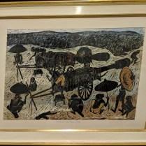 """**ITEM NOW SOLD** Vintage woodblock print by Prapan Srisouta (Thailand). First Print, dated 1/25/1962. 43.5""""w x 33.5""""h 1100.-"""