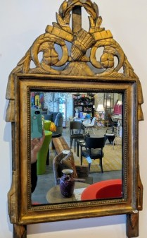 """Antique French mirror with old glass. C. 1780, from the Jane Piper Reid Collection. 16.5""""w x 28.5""""h Orig. List: $2,896. Modele's Price: 650.-"""