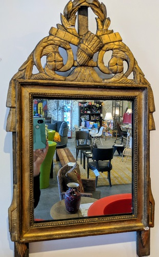 "Antique French mirror with old glass. C. 1780, from the Jane Piper Reid Collection. 16.5""w x 28.5""h Orig. List: $2,896. Modele's Price: 850."
