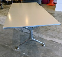 "Alias 'Frame' table, aluminum, with folding legs. Never used in a home. 74.75""l x 37.5""w x 29""h. Current List: $2,998. Modele's Price: 1495.-"