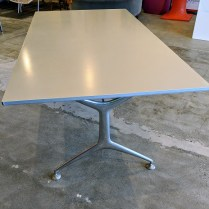 "**ITEM NOW SOLD** Alias 'Frame' table, aluminum, with folding legs. Never used in a home. 74.75""l x 37.5""w x 29""h. Current List: $2,998. Modele's Price: 1495.-"