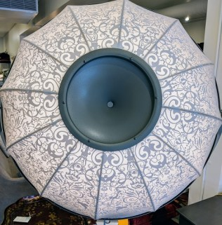 """Detail of Fortuny 'Ornament' floor lamp. Never used. 38""""w x 22""""d x 94.5""""h Current List: $5,276. Modele's Price: 2650.-"""