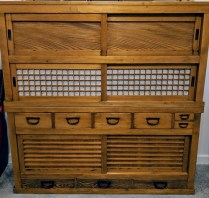 "**ITEM NOW SOLD** Japanese tansu, purchased at Del Teet Furniture approx. 15 years ago. 57""w x 16.5""d x 57.5""h. Two pieces. Orig. List: $3000.- Modele's Price: 1575.-"