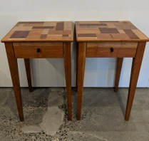 "**ITEM NOW SOLD** Pair custom designed/built side tables by Greg Klassen, from Northwest Woodworking Gallery in 2012. Cherry and rosewood. 14.75"" sq. x 23""h. Orig. List: $2,350. Modele's Price: 1150.- pair"