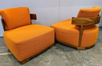 """**ITEM NOW SOLD** Pair Porada 'Bea' lounge chairs, approx. 10 years old. 28""""w x 32""""d x 27.5""""h. Orig. List: over $4,000. Modele's Price: 1395.- pr."""