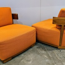 "**ITEM NOW SOLD** Pair Porada 'Bea' lounge chairs, approx. 10 years old. 28""w x 32""d x 27.5""h. Orig. List: over $4,000. Modele's Price: 1395.- pr."