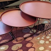 "**ITEM NOW SOLD** Set/3 B&B Italia FatFat tables, purchased in 2007. Designed by Patricia Urquiola. Largest table: 36.25"" dia. x 15""h. Current List: over $2000. Modele's Price: 950.- set/3"