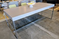 "**ITEM NOW SOLD** B&B Italia 'Athos 05' extension dining table. Purchased in 2007. Expands with self-storing leaves on both ends. Lacquer finish with chromed steel frame. 75""l x 35.5""w x 29.5""h. Orig. List: over $4000. Modele's Price: 1650.-"