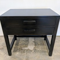 "**ITEM NOW SOLD** Cisco nightstand, 2 years old. 2 drawers with full extension glides. 30""w x 20""d x 28.5""h. Black finish. Orig. List: $2,500. Modele's Price: 350.-"