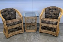 """Pair classic vintage McGuire chairs with matching table. Chairs: 26""""w x 28""""d x32""""h. Table: 22"""" x 28"""" x 23""""h. 795.- set"""