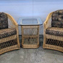 """**ITEM NOW SOLD** Pair classic vintage McGuire chairs with matching table. Chairs: 26""""w x 28""""d x32""""h. Table: 22"""" x 28"""" x 23""""h. 450.- set"""