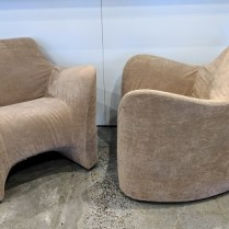 "**ITEM NOW SOLD** Pair Driade 'Tokyo Pop Soft' chairs, designed by Tokujin Yoshioka. Discontinued style. 34""w x 32""d x 30""h. 595.- pair REDUCED! NOW 50% OFF: 297.50 PR."