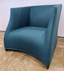 """**ITEM NOW SOLD** Pair Porada 'Vivienne' lounge chairs; walnut frame, wool upholstery. Only used for staging, less than one year old. 34.25""""w x 33'd x 29.75""""h. Current List: $6,000. Pr. Modele's Price: 1350.- pair"""