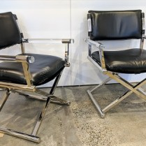"**ITEM NOW SOLD** Pair Williams Sonoma 'Directors' chairs. Four months old, discontinued style. Lucite, stainless steel, leather. 26""w x 22""d x 33.25""h. Orig. List: $1,599. Each Modele's Price: 1495.- pr."