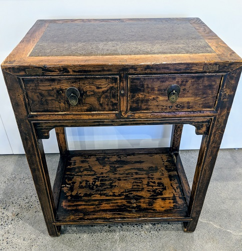 """Pair antique Chinese tables with stone tops. 19th century, Shanxi region. 26""""w x 15.5d x 32""""h. Orig. List: $3,200. Pair Modele's Price: 1750.- pr."""