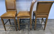 "**ITEM NOW SOLD** Set/3 Michael Traylor 'Regency' counter stools with leather upholstery, brass covered stretchers. 12 years old. 18.75""w x 23.5""d x 42.5""h. Orig. List: $2,500. per stool. Modele's Price: 1500.- set"