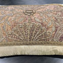 "**ITEM NOW SOLD** Rectangular silk and velvet pillow. 4 years old, purchased from boutique in Pasadena. 26.5""w x 21""h. Orig. List:$750.-800. Modele's Price: 350.-"