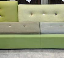 """**ITEM NOW SOLD** Vitra 'Polder' sofa. Designed by Hella Jongerius. 8 years old. 115.25""""l x 40""""d x 30.5""""h. Current List: $8,430.- Modele's Price: 1950.-"""