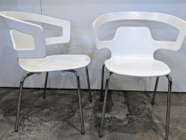 "**ITEM NOW SOLD** Set/4 Alias 'Sugesta' dining chairs, stackable. Never used. 23.25""w x 22.5""d x 32""h. Orig. List: $1,356. set/4 Modele's Price: 595.- set"