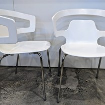 """**ITEM NOW SOLD** Set/4 Alias 'Sugesta' dining chairs, stackable. Never used. 23.25""""w x 22.5""""d x 32""""h. Orig. List: $1,356. set/4 Modele's Price: 595.- set"""