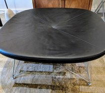 """Erik Jorgensen' (Denmark) 'One For Four' bench in black leather with chromed frame. Purchased at Egbert's in 2010. Model #EJ-144. Use as seating or coffee table. 43"""" sq. x 18""""h. Current List: $5,388. Modele's Price: 1950.-"""
