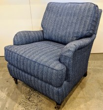 """**ITEM NOW SOLD** Lee lounge chair, model #3452-01. Never used. Kravet fabric, Perennials trim, arm caps included. 30.5""""w x 39""""d x 35""""h. Orig. List: $2,636. Modele's Price: 1500.-"""