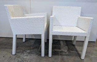 "Pair Gervasoni outdoor wicker armchairs. Never used. 22.5""w x 22.5""d x 31.25""h. Orig. List: $1,718. pair Modele's Price: 795. pr."