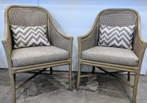 """**ITEM NOW SOLD** Pair Selamat 'Tivoli' chairs, rattan/cane, leather wrap, upholstered seats, lumbar pillow. Purchased from Del Teet, but not used. 24""""w x 23.5""""d x 35.5""""h. Current list: approx. $3,000. pair Modele's Price: 750. pair"""