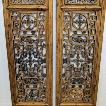 "**ITEM NOW SOLD** Pair antique carved Chinese panels. Each panel; 16.5""w x 51.5""h. Beautiful detail. 550.- pr."