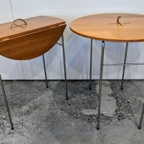 "**ITEM NOW SOLD** Punt Mobles (Spain) cherry/steel drop-leaf side table. Never used. Closed: 23.5"" x 12.25"" x 24.5""h. Open: 23.5"" diam. Orig List: over $450. each. Modele's Price: 195.- each"