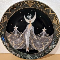 "**ITEM NOW SOLD** Royal Doulton House of Erte 'Queen of the Night' plate. Limited edition collectors' plate. Decorative, not food safe. 8"" dia. 20.-"