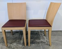 "**ITEM NOW SOLD** Set4 Arco 'Flex' dining side chairs; white oak with leather seat. Never used. 17""w x 20.5""d x 33.5""h. Orig. List: $900.-1200. ea. Modele's Price: 1500.- set/4"