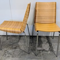 "**ITEM NOW SOLD** Set/4 Plank 'Zebrano' dining chairs. Never used, stackable. 18.25""w 20""d x 31.25""h Orig. List: $2,796. set/4 Modele's Price: 1295. set"