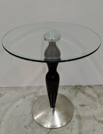 "**ITEM NOW SOLD** Ethan Allen side table; glass/wood/steel. C. 1990's. 18""dia. x 22""h. 150.-"