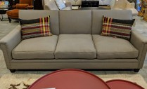 """Hollywood At Home (Los Angeles) 'Hogan' sofa. One month old, never used in a home. Upholstered in Pindler 'Colby'. Brass nailhead trim. 90""""w x 38""""d x 36""""h. Current List: $6,097. Modele's Price: 2950.-"""