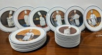 **ITEM NOW SOLD** 25 Pc. set Williams Sonoma 'Chef Series' plates. 13: dinner plates, 12: salad plates. Six assorted patterns based on paintings by Guy Buffet. Approx. 18 yrs. old, very light use. 150.- set