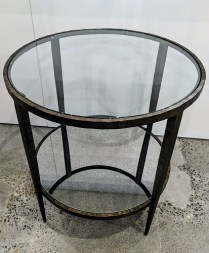 "**ITEM NOW SOLD** Crate & Barrel 'Clairemont' side table. Forged metal frame with antiqued finish, mirrored bottom shelf. 24"" dia. x 25.25""h. Current List: $598. Modele's Price: 325."