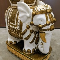 "**ITEMS NOW SOLD** Vintage ceramic elephant garden stool (2 available). 22""l x 10""w x 22""h. 175.- each"