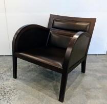 "**ITEM NOW SOLD** Sawaya & Moroni (Italian) leather/wood lounge chair. 26""w x 29.5""d x 25.5""h. Orig. List: $4,000.-6,000. Modele's Price: 1195.-"