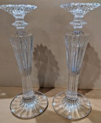 "**ITEM NOW SOLD** Pair Baccarat 'Mille Nuit' crystal candlesticks. 12.75""h. Current List: $2,400. pair. Modele's Price: 895.- pair"