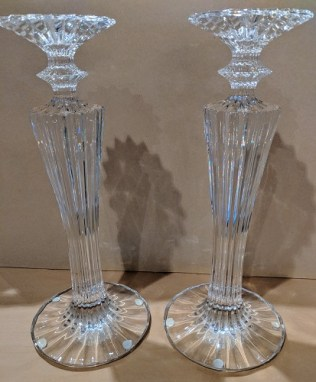 "Pair Baccarat Mille Nuit crystal candlesticks. 12.75""h. Current List: $2,400. pair. Modele's Price: 895.- pair"