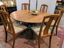 Custom dining set designed and built by Alan Rosen of Lummi Island. Solid, natural cherry. Built in 2001, light use. Includes 6 side chairs. Current List: $16,000.-18,000. set. Modele's Price: 6950.- set