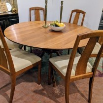 **iTEM NOW SOLD** Custom dining set designed and built by Alan Rosen of Lummi Island. Solid, natural cherry. Built in 2001, light use. Includes 6 side chairs. Current List: $16,000.-18,000. set. Modele's Price: 6950.- set