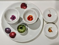 "The White Snow Fruits, from Driade, Italy. Design by Antonia Astori, Milano. Platter; 15.75"" d. 3 sizes of bowls and one set of saucers. 30. - 85. for sets. Platter: 65.-"