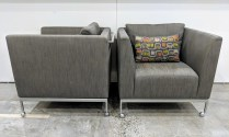 "**ITEM NOW SOLD** Pair Ligne Roset 'Traversale' lounge chairs. Discontinued style. Caster feet. Orig. List: over $3,000. Each. Crate & Barrel pillows included. 30""w x 29.75""d x 27.5""h. 1950.- pr."