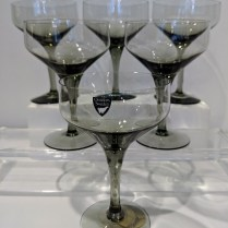 """**ITEM NOW SOLD** Set/6 vintage Orrefors 'Rhapsody Smoke' champagne/dessert coupes, 5.25"""" tall. C. 1960's-1970's. Set/6: 60.-"""